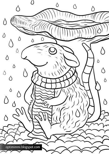 OPTIMIMMI | A free coloring page about a mouse and a mushroom in the rain / Ilmainen värityskuva hiirestä ja sienestä sateessa