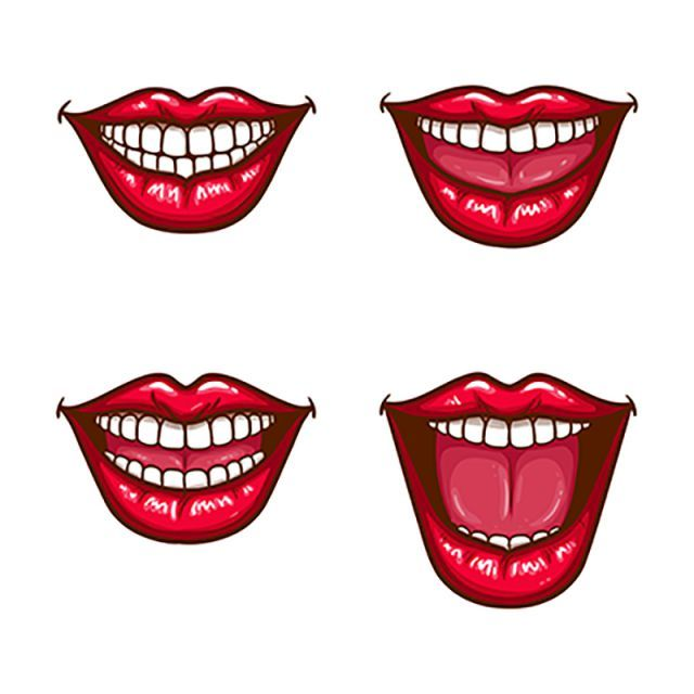 A Collection Of Pop Art Icons Of Red Female Lips Smiling With Lip