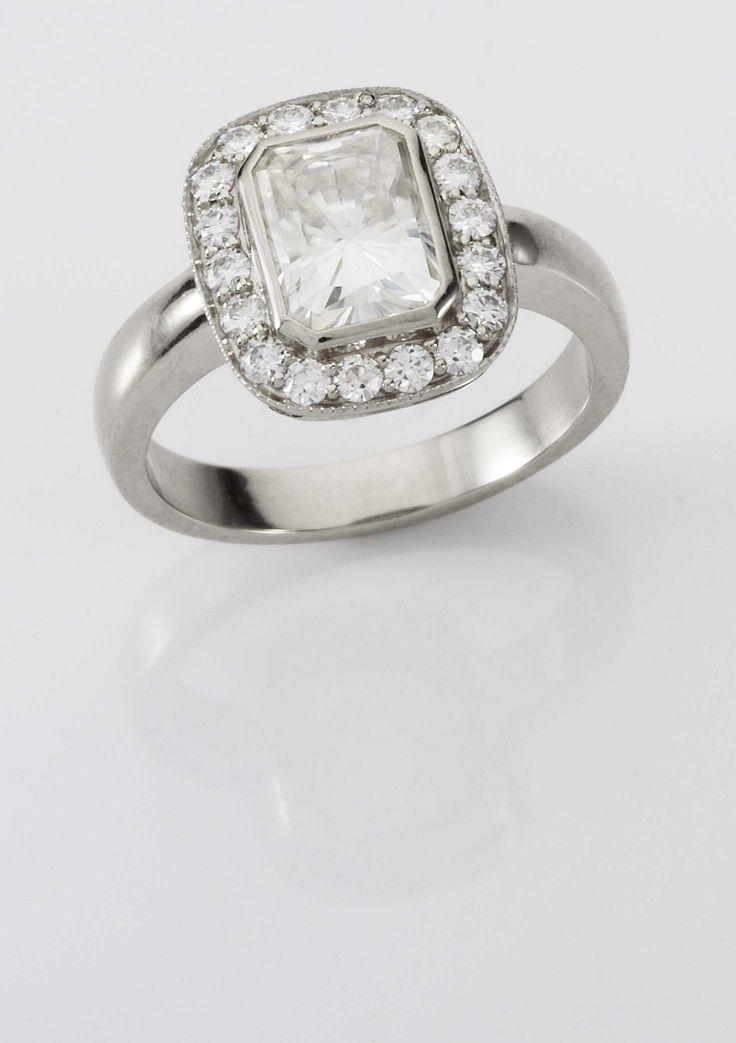 Custom Reclaimed White Gold Moisonite Halo Engagement Ring www.organicmetalgallery.com