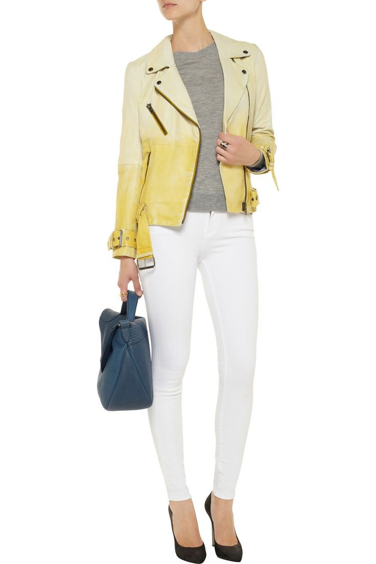 W118 by Walter Baker Evan dégradé leather biker jacket - 48% Off Now at THE OUTNET