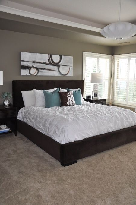 Teal and beige bedroom - Mocha Accent by Behr paint color.