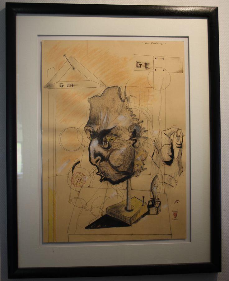 Das Wanderauge. 2007. Mischtechnik auf Papier, gerahmt. 50 x 69 cm Privatsammlung