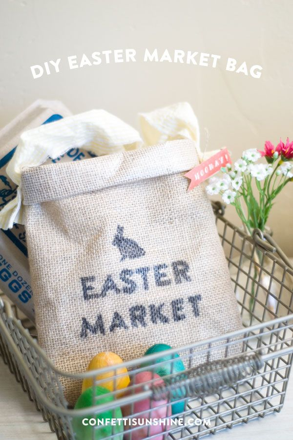 DIY Market Burlap Bag : easy Easter craft ideas and doubles as an Easter egg basket!