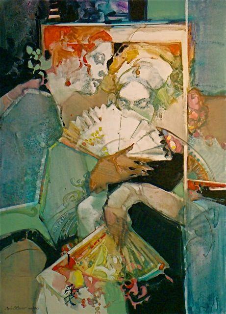 """The Courtesans,""c.2010 by American born Carla O' Connor. Awarded at the Shanghai Zhujiajiao International Watercolor Biennial Exhibition"