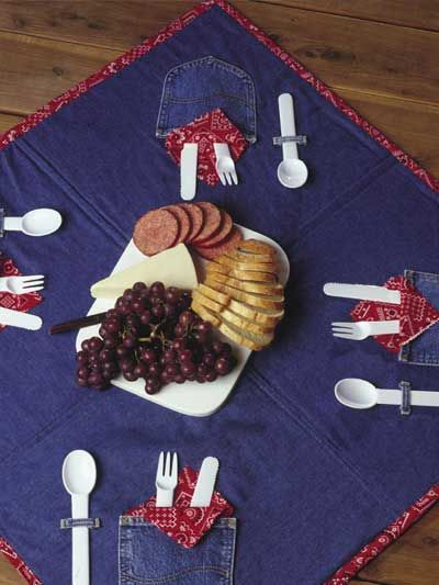 Blue Jeans & Bandannas Picnic Mat... oh this is just so adorable !!!  pattern.