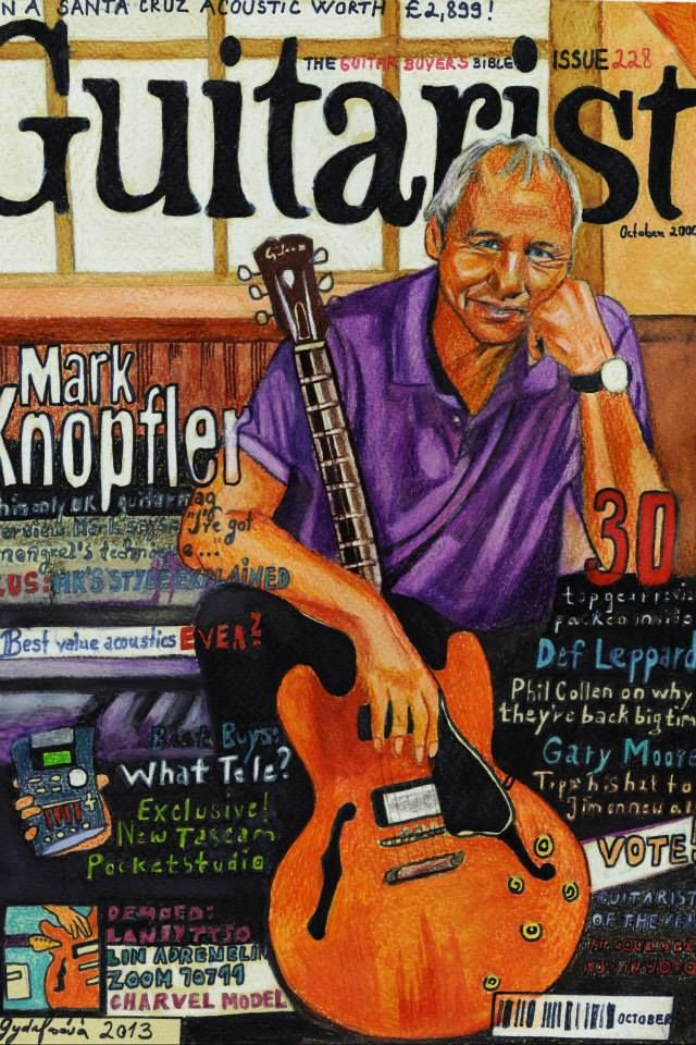 Mark Knopfler Guitarist drawing cover