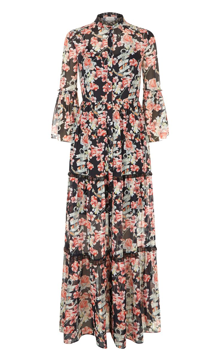 Temperley London Winter '16 Long Captain Print Dress