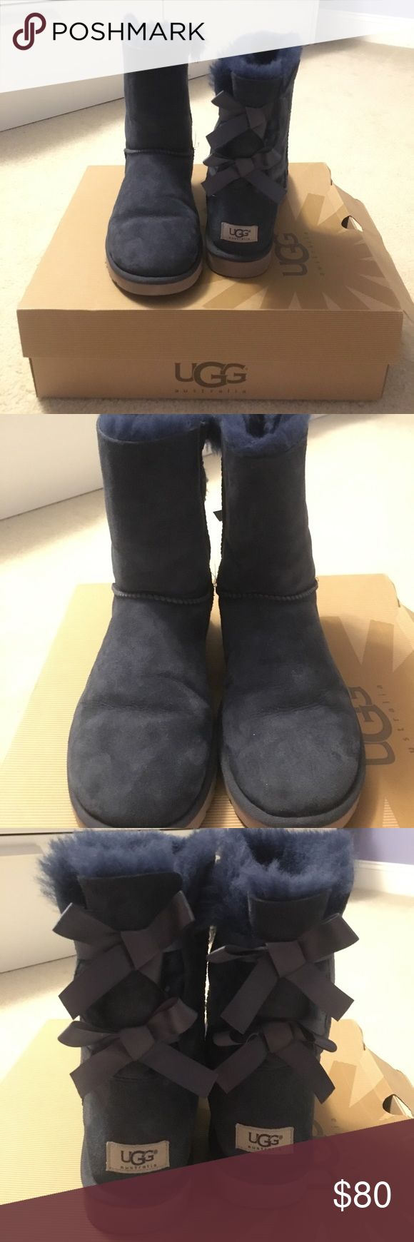 Authentic Blue UGG Bailey Bow Boots Blue Ugg Bailey Bow boots. Pre-loved but in excellent condition! Super cute shoe!                                                   📦SAME OR NEXT DAY SHIPPING                                 ❌No trades, thank you!                                              ✅Make me an offer!                                                      ❓Ask questions BEFORE purchasing! UGG Shoes