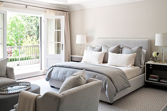 Beautiful master bedroom. Love the soft gray and white linens.