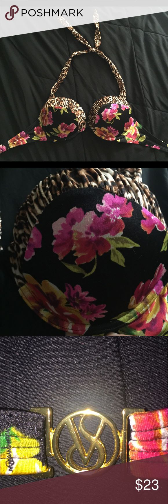 Victoria secret Bombshell swim top. 34C 🌺💣✨😘 Floral and jaguar print halter top. Padded and push up bombshell style. Hooks in the back. Victoria secret brand. Good condition. Great for a Vegas pool party this summer 💦💦✨✨💦💦✨✨💦💦 Victoria's Secret Swim One Pieces
