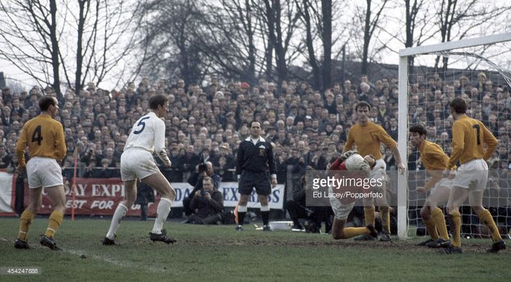 24th January 1970. Sutton United goalkeeper Dave Roffey of saves a shot from Jack Charlton during their FA Cup Fourth Round tie at Gander Green Lane.