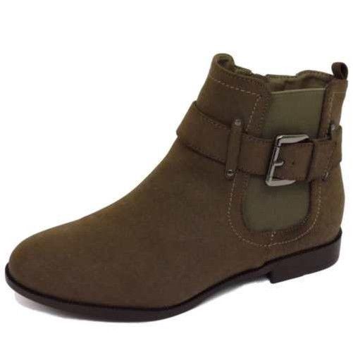 Ladies Flat Brown Ex-Branded Eee Wide-Fit Biker Chelsea Ankle Dealer Boots 4-11
