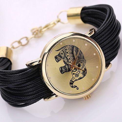 Uhr mit geflochtenen Armband Elefant Glück Damenuhr gold schwarz weiß grün Neu