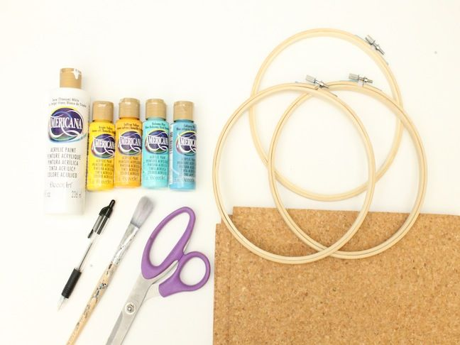 Diy embroidery hoop cork board craft and crafts