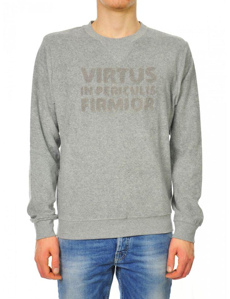 FELPA UOMO GRIGIO Felpa uomo Virtus palestre. 100% cotone - made in italy - Caneppele  #trento #jumper #man #look #sporty #casual #daywear