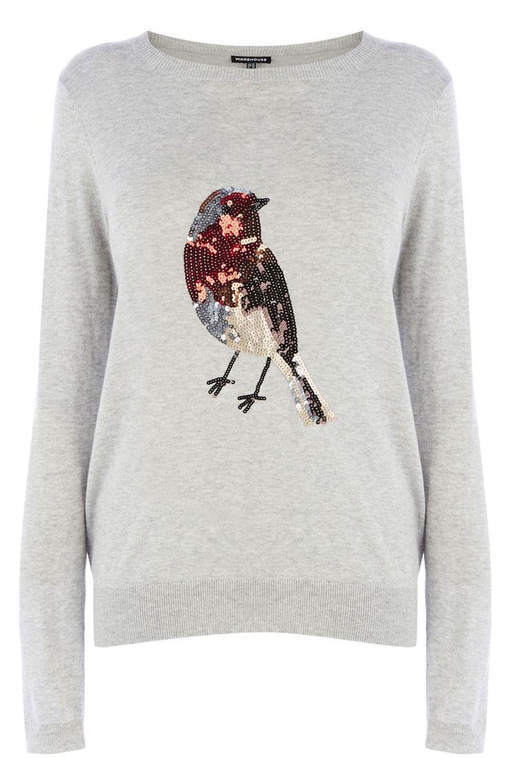 Grey Sequin robin jumper