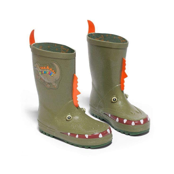 These dinosaur rain boots by Kidorable are full of FUN dino features like –spikes, teeth, scaly skin, plus easy to pull on with Dino-spike heel tabs at the top of the boot.