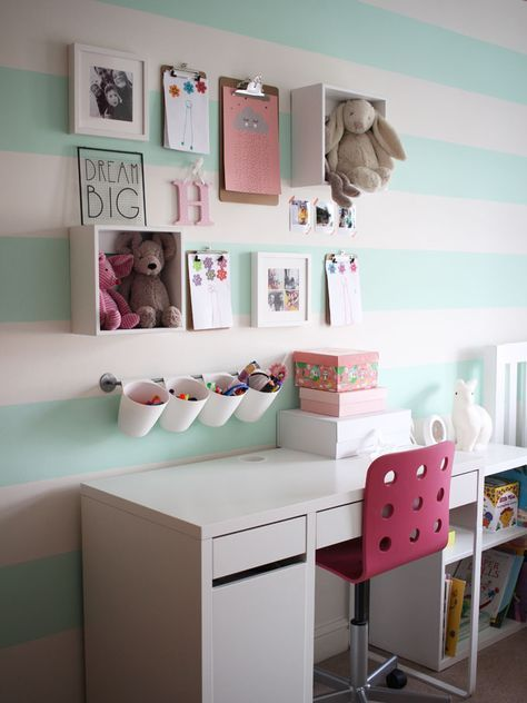 Kids Desk Goals! Using IKEA kitchen storage and desk to create a perfect desk set up. A little girls pink and mint green bedroom tour. Inspiration and decoration ideas for a perfect room for a four year old girl.