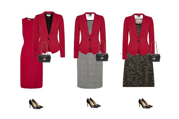 Business wear - Red dress and jacket