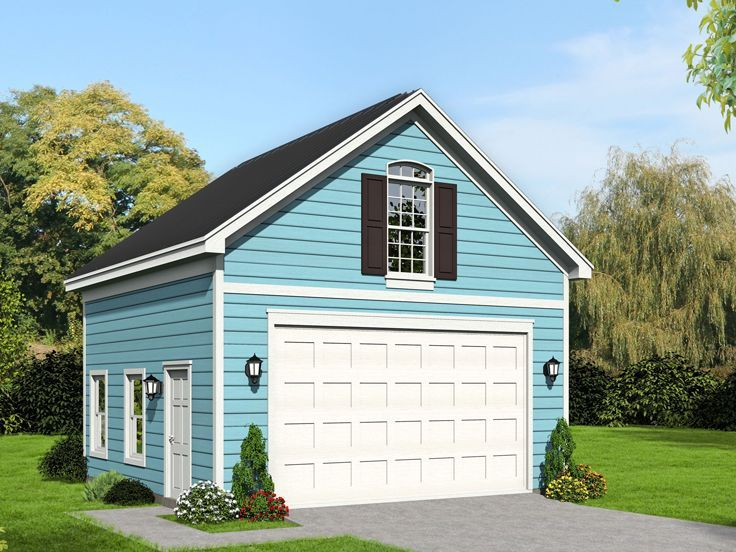 062g 0187 Traditional 2 Car Garage Plan With Loft 22 X24