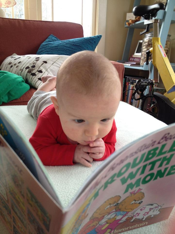 Such a cute baby reading a Berenstain Bears book!