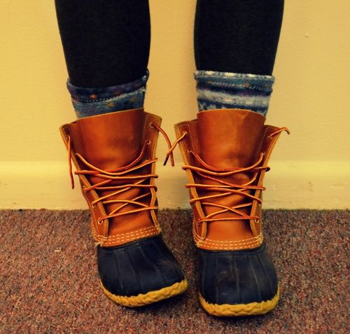Duck Boots. I think they are so cute with thick wool socks sticking out of the top.