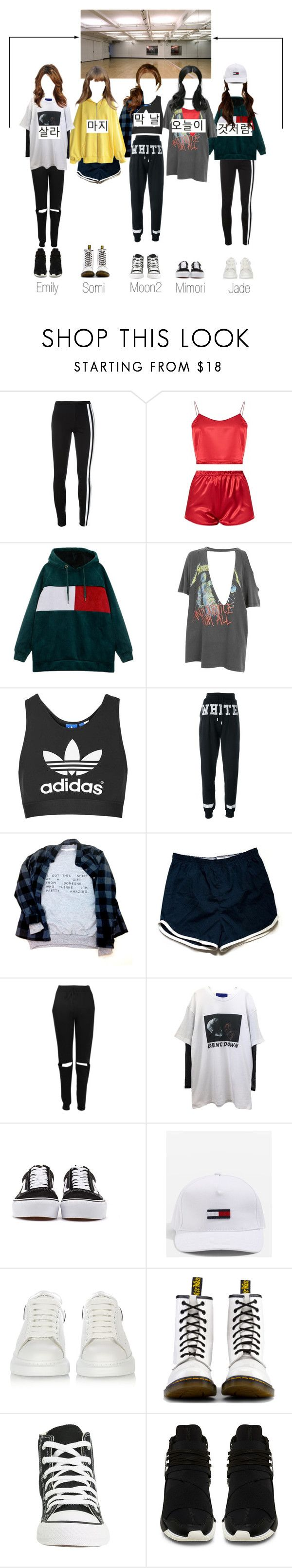 """""""SCARLET - Dance Practice"""" by scarlet-offical ❤ liked on Polyvore featuring Y-3, And Finally, Topshop, Off-White, Boohoo, Vans, Tommy Hilfiger, Alexander McQueen, Dr. Martens and Converse"""