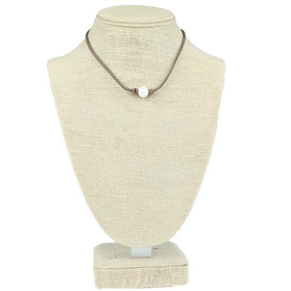 Pearl Leather Necklace in Coffee Brown by Country Club Prep