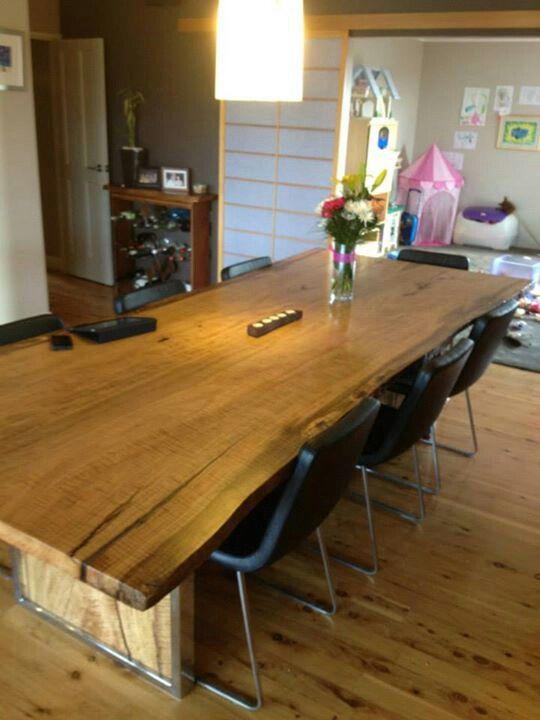 3 m x 1.2 m curly marri slab dining table