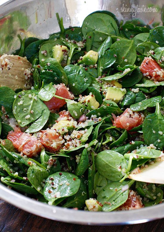 Amazing quick salad of Spinach and Quinoa with Grapefruit and Avocado. Beautiful coloring too. Ingredients: 4 oz baby spinach 2 ruby red grapefruits, peeled and fruit separated, reserving 3 slices 1 haas avocados, diced 1 cup cooked quinoa (1/3 cup dry) For the Citrus Vinaigrette: 1 1/2 tbsp olive oil 1 1/2 tbsp champagne vinegar 2 tbsp chopped shallots salt and pepper to taste grapefruit juice from 3 reserved slices of grapefruit