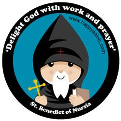 Happy Saints: St. Benedict of Nursia.  This is just one of the numerous saints this artist has done.  Take a look!