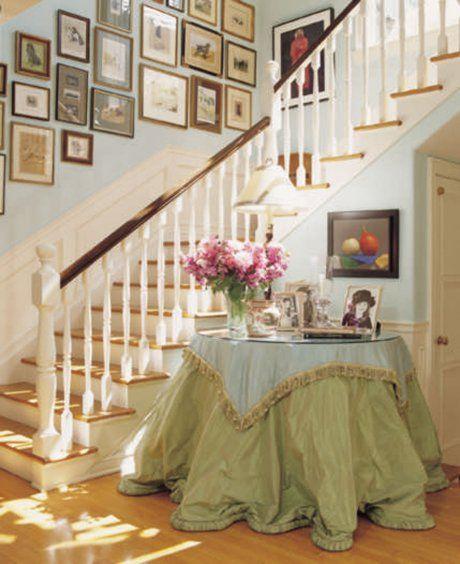2 Story Foyer Decorating Ideas | ... stair elements and a skirted table help brighten this stair foyer Z