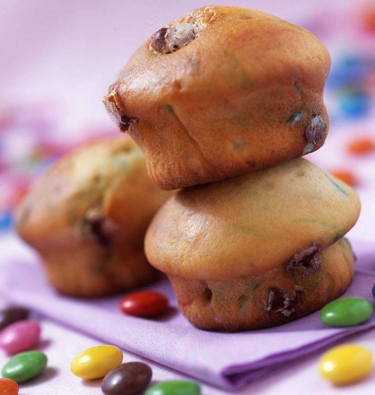 Muffins aux smarties - les meilleures recettes de cuisine d'Ôdélices