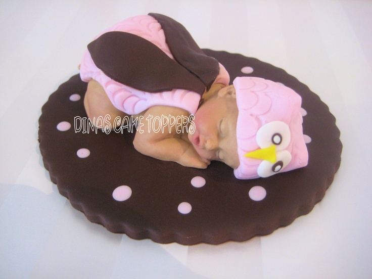 Pink OWL  Baby shower cake topper Gum Paste FoNDANT