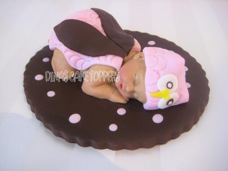 pink owl baby shower cake topper gum paste fondant