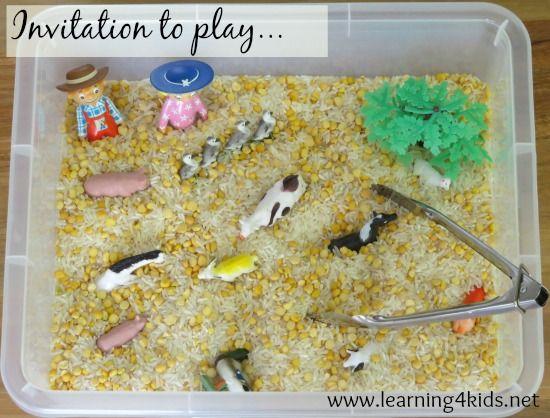 Invitation to play: sensory hide and seek game using the nursery rhyme Old MacDonald Had a Farm