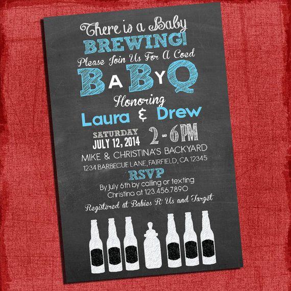 Printable Baby Q Shower Invitation   Barbecue Baby Shower   Coed Baby Shower  Invite Baby
