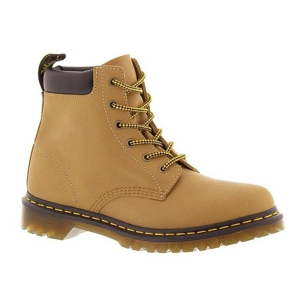 Dr Martens 939 6-Eye Hiker Boot ($125) ❤ liked on Polyvore featuring shoes, boots, tan, rubber sole boots, tan boots, dr martens shoes, ski boots and ski shoes