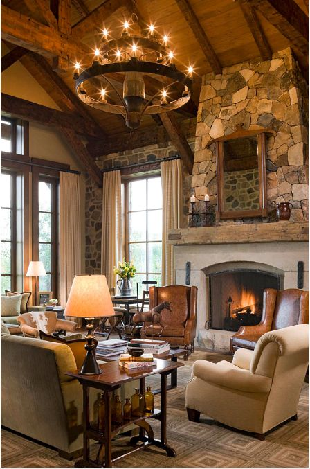 """Great Room Designed by Cullman & Kravis with a formal """"rustic"""" look"""