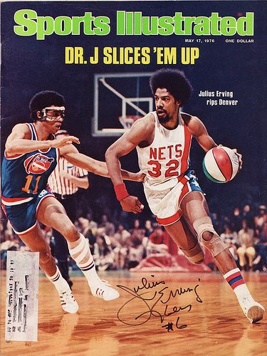 This Day In NBA History: 1976 - Julius Erving--Dr. J--graces the cover of Sports Illustrated, as the New York Nets defeat the Denver Nuggets to win the 1976 ABA Finals and become the league's last champion.  keepinitrealsports.tumblr.com  keepinitrealsports.wordpress.com