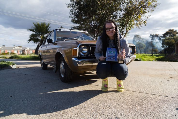 """Pride & Joy. Chelsea Hodge (me) and her 1975 Valiant Galant named """"Charlie""""."""