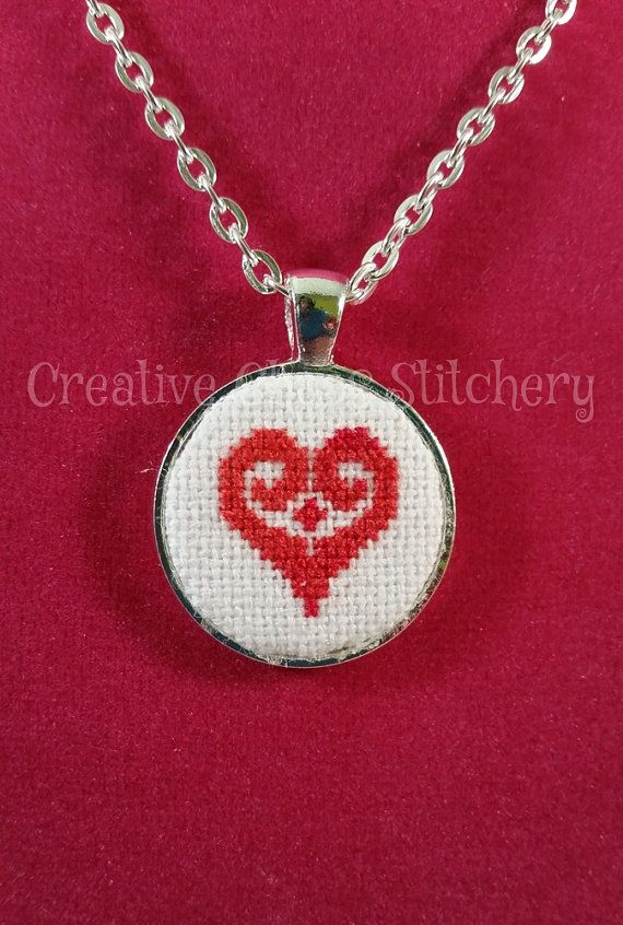 Cross Stitch Necklace  Heart by chaoticstitchery on Etsy