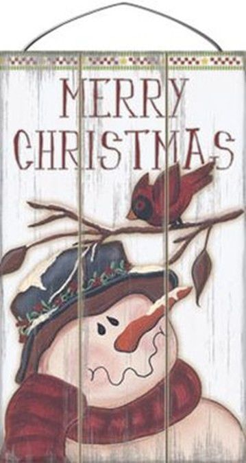 Wooden Christmas Sign - 17-011 Merry Christmas  with red bird $21.95