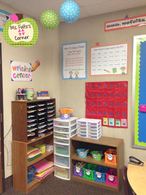 Ms. Fultz's Corner: Classroom Reveal 2013 with video-- writing center
