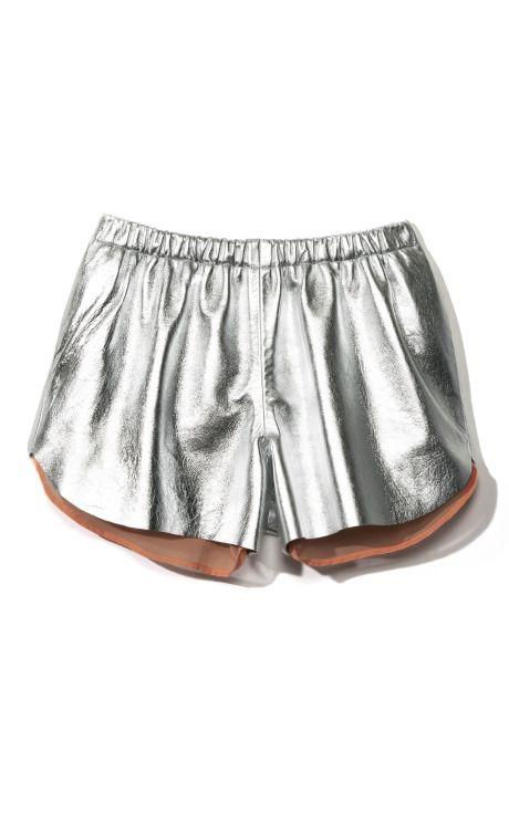 silver leather shorts