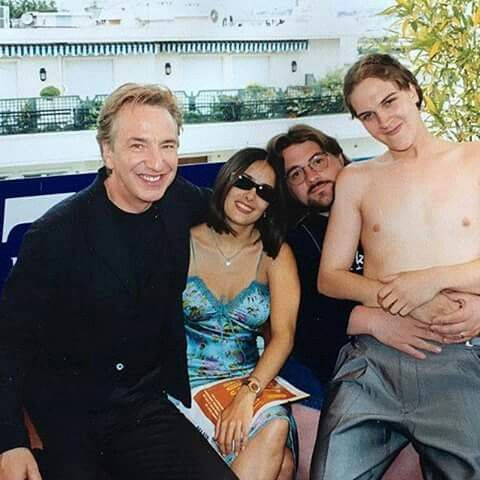 Alan Rickman,  Salma Hayek,  Kevin Smith and Jason Mewes on the set of Dogma