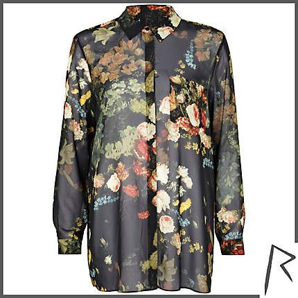 #RihannaforRiverIsland Black Rihanna floral pleat back shirt. #RIHpintowin click here for more details >  http://www.pinterest.com/pin/115334440431063974/