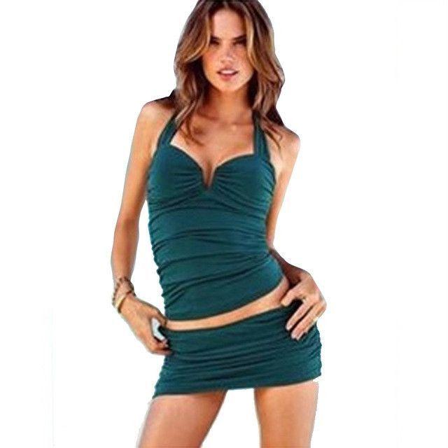 Classic Black Strap summer Two Piece tankini swimwear beach women swimsuit triangle bikini With Shorts Women Skirt Biquinis