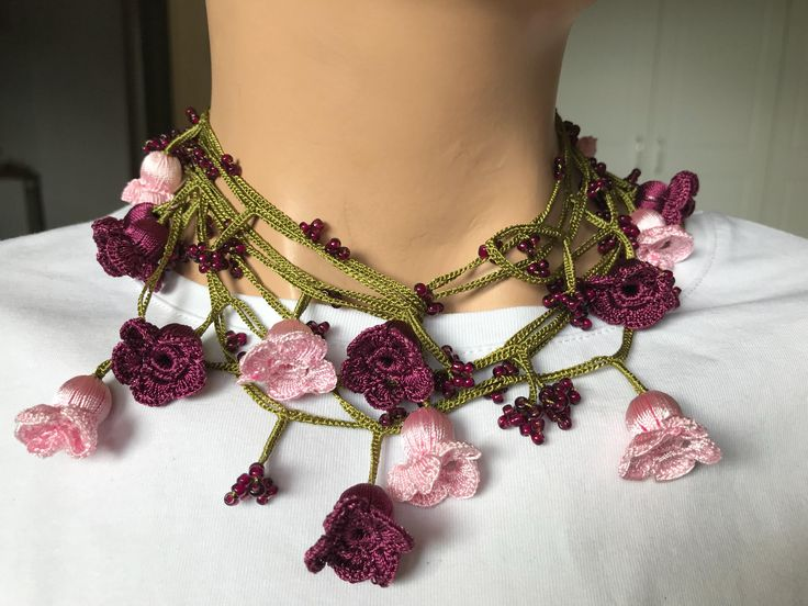pink necklace, dark rose necklace, crochet oya, gift for women, handmade necklace, turkish anatolian, rustic lariat, vintage choker, bohemia by BendisGalata on Etsy