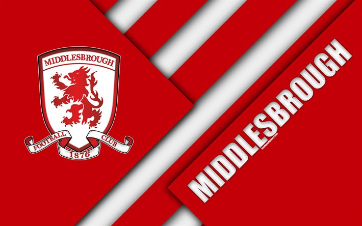 Download wallpapers Middlesbrough FC, logo, 4k, red abstraction, material design, English football club, Middlesbrough, England, UK, football, EFL Championship